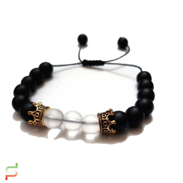 دستبند اونیکس سیاه و اونیکس سفید تاجدار